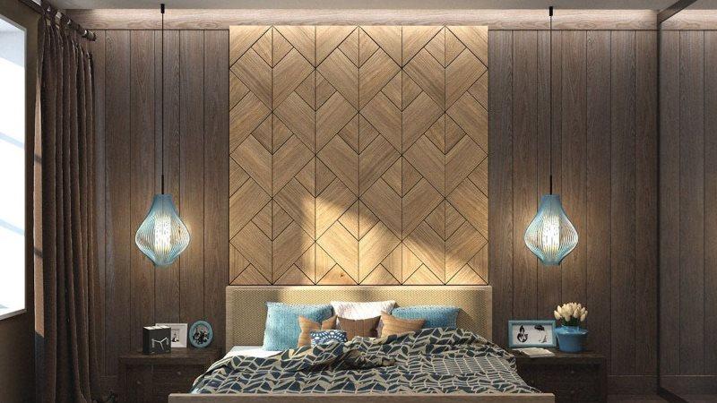 Деревянная плиточные панели в интерьере дома