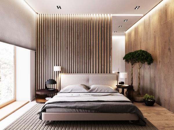 Реечные и листовые стеновые панели в спальне